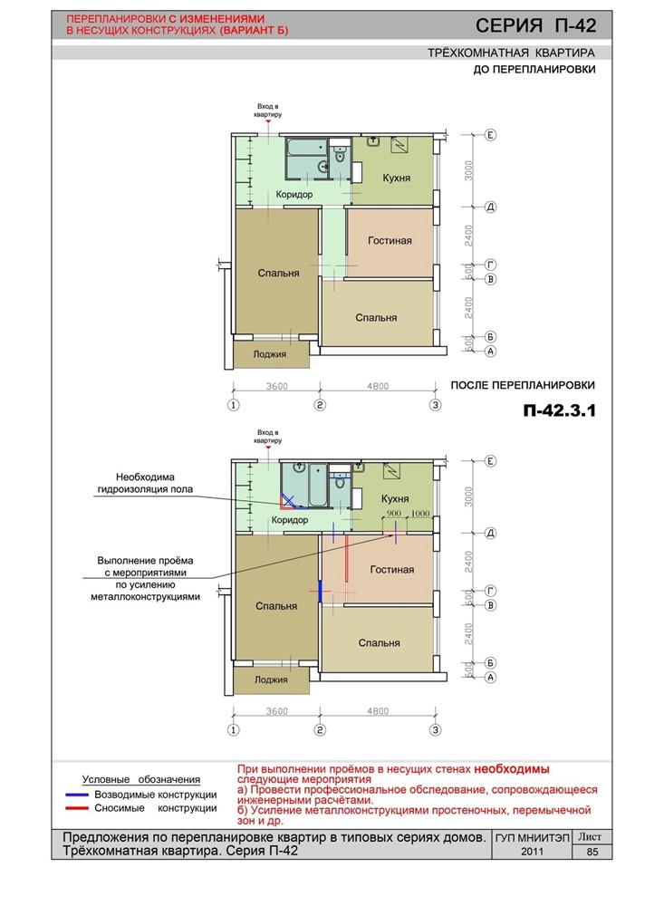 Каталог типовых решений перепланировок квартир.