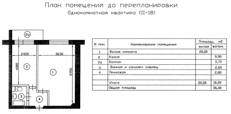 II-18 однокомнатная квартира до перепланировки