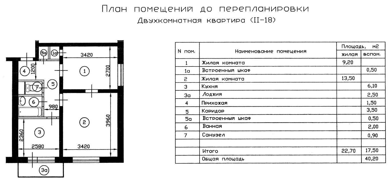 II-18 планировка 2 комнатной квартиры